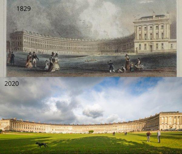 Королевский полумесяц, Бат, Великобритания. 1829 и 2020 годы