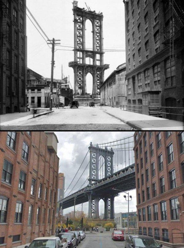 Незаконченный Манхэттенский мост в 1908 году и сейчас