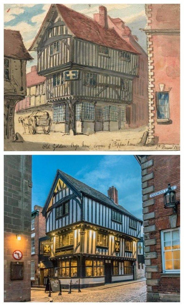 Гостиница «Золотой крест», Ковентри. 1819 год и сейчас