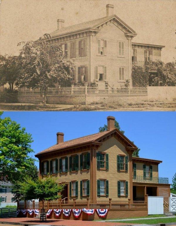 Дом Авраама Линкольна в 1861 году и сейчас. Спрингфилд, Иллинойс