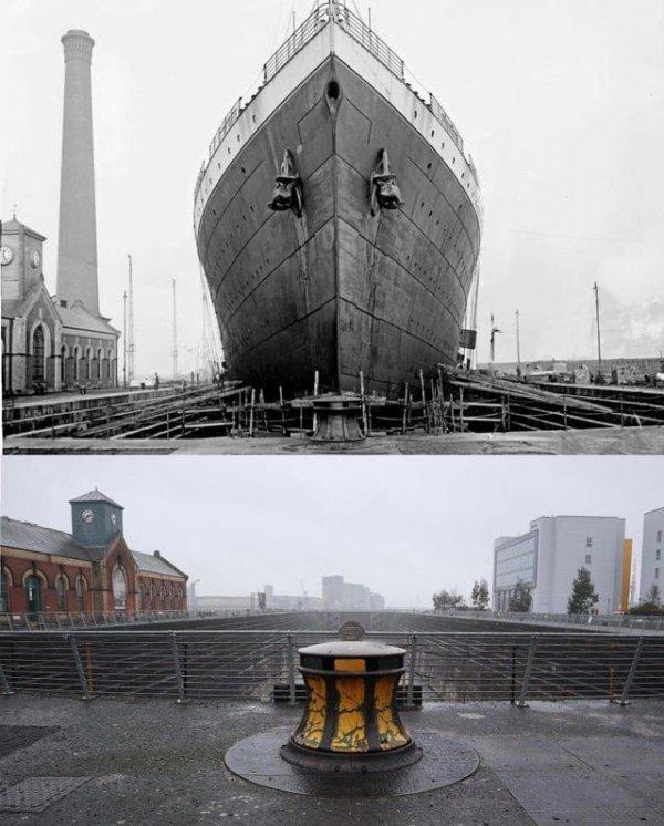Сухой док Титаника, 1912 и 2015 годы
