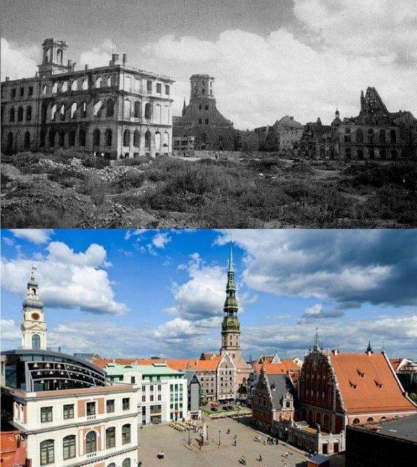 Ратушная площадь в Риге в 1944 году и сейчас