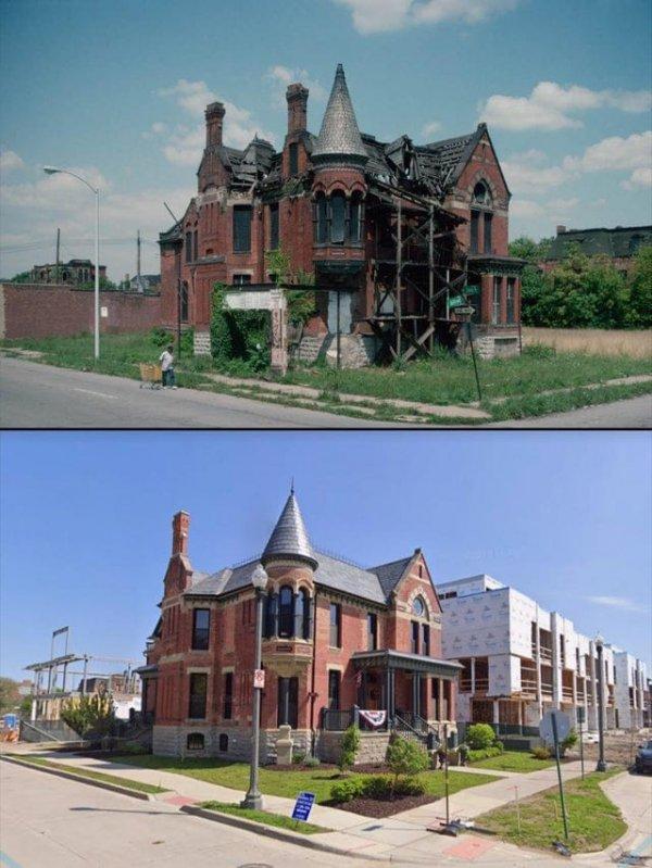 Прекрасный дом, восстановленный в Детройте. 1993 год и сейчас