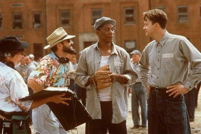"""На съемках фильма """"Побег из Шоушенка"""", 1993 год."""