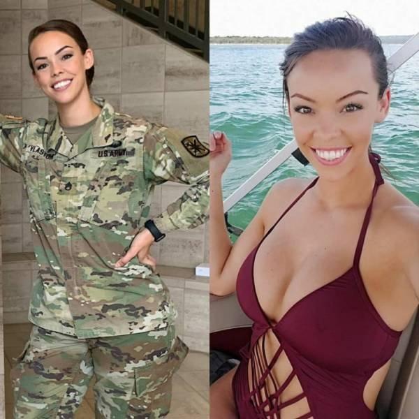 Девушки в униформе и без нее