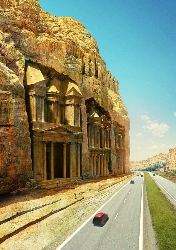 Если бы рядом с древним городом Петрой построили трассу