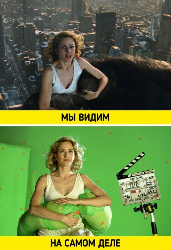 Знаменитая сцена из «Кинг-Конга» с Наоми Уоттс снималась подобным образом