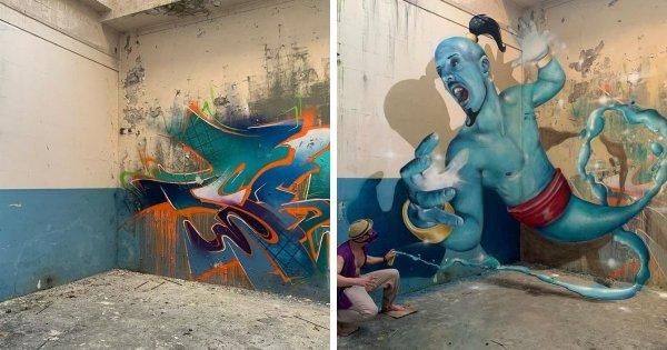 Крутые 3D-граффити от французского художника, который любой угол превращает в произведение искусства