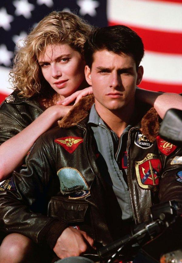 Том Круз и Келли Макгиллис на съемках фильма «Лучший стрелок» в 1986 году
