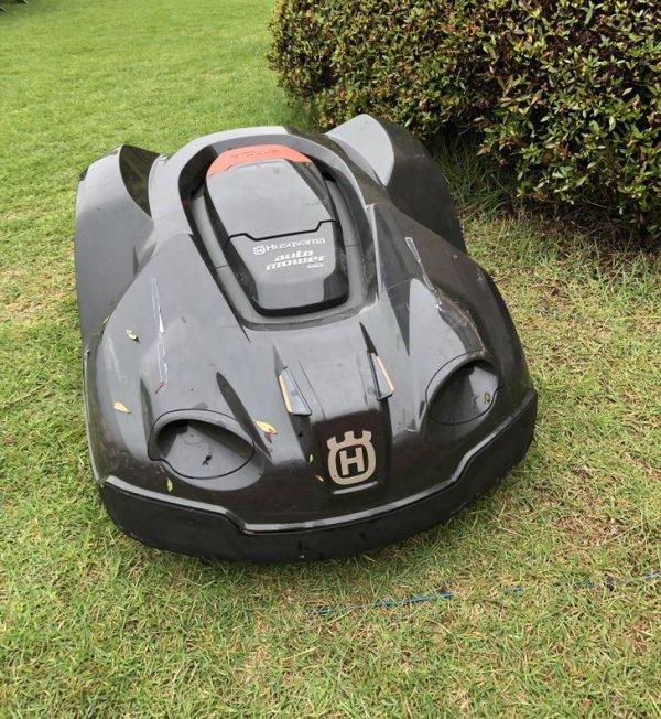 А на поле для игры в гольф можно встретить вот такого робота-газонокосилку