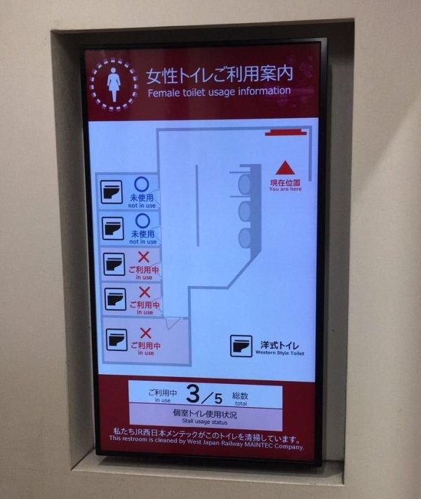 У входа в уборные есть информационное табло, отображающие информацию о свободных и занятых кабинках