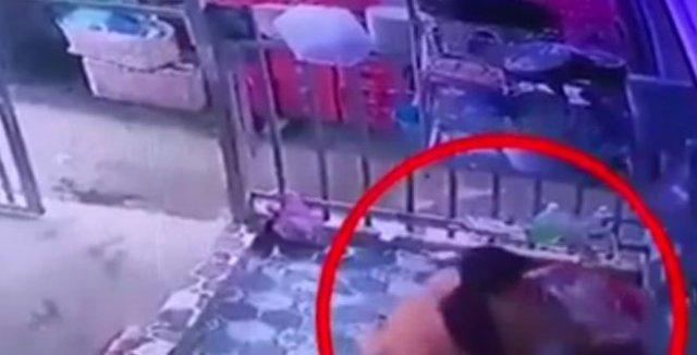 Девушка, скрываясь от полиции, притворилась, будто моет посуду