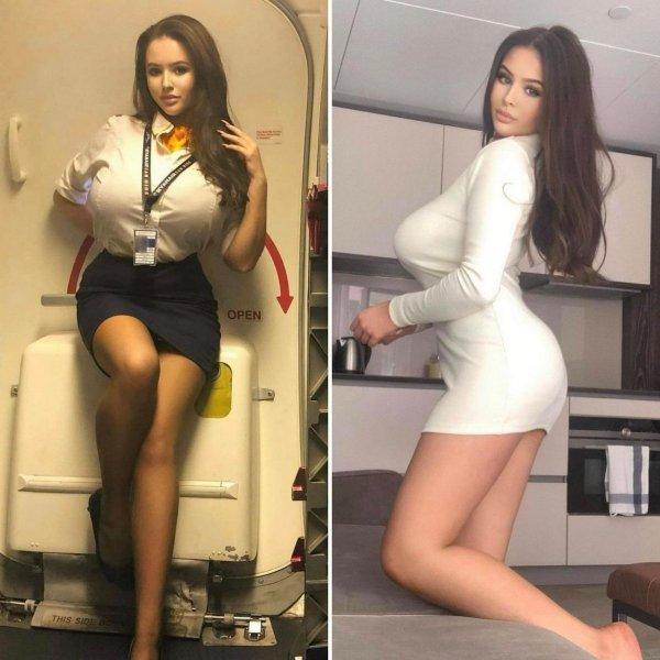 Симпатичные стюардессы в форме и без