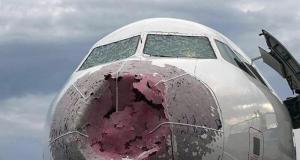 Аварийная приземление не без; глупый видимостью с подачи разбитых стекол кабины (3 фото + видео)