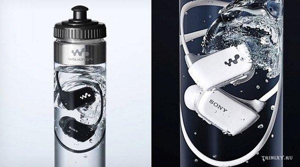 Свой новый водонепроницаемый MP3 плеер компания SONY продаёт прямо в бутылке с водой.