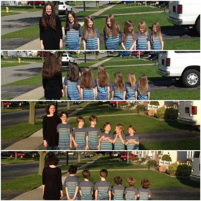 Мать и шестеро сыновей пожертвовали свои волосы на благотворительность (2 фото)