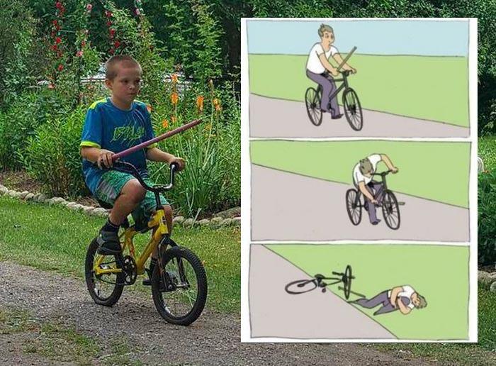 Знаменитый мем «Палка в колеса» (3 фото)