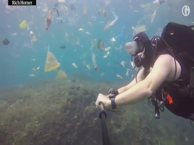 Отдых на Бали: британский дайвер показал кадры замусоренного океана
