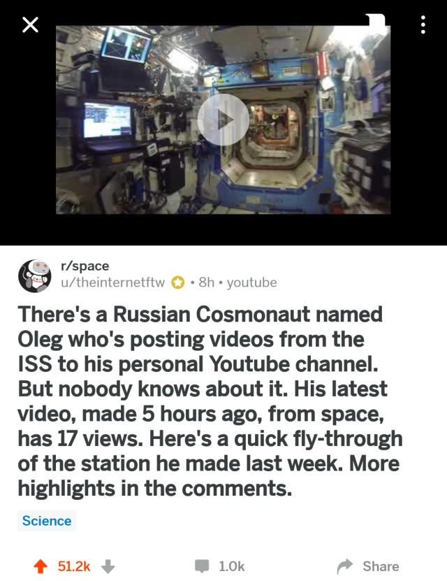 Как социальная сеть помогла набрать просмотры российскому космонавту
