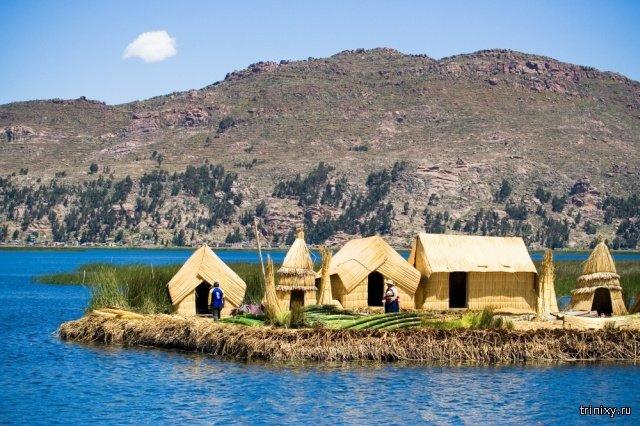 Плавучие острова Урос на озере Титикака (10 фото)