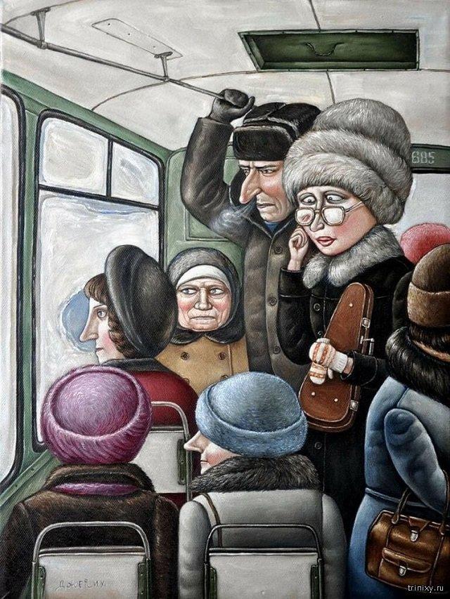 Подборка ироничных картин о буднях советского времени (27 фото)
