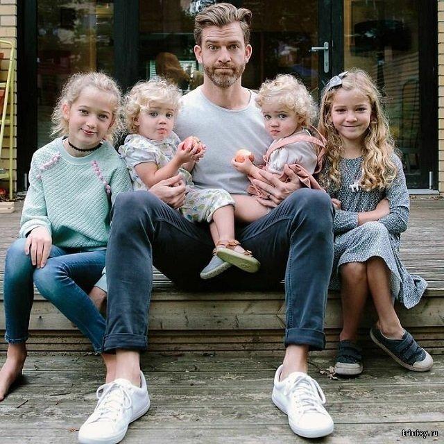 Суровые будни отца четверых дочек (20 фото)