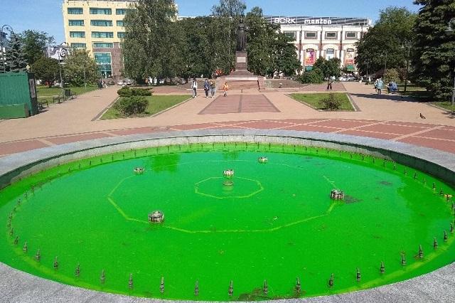 В центре Калининграда забил фонтан с зеленой водой (2 фото + видео)