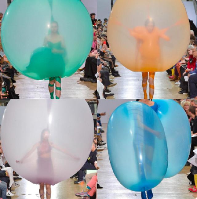 Скандинавский дизайнер показал свой взгляд на современный фэшн и одел моделей в воздушные шары (4 фото + 2 видео)