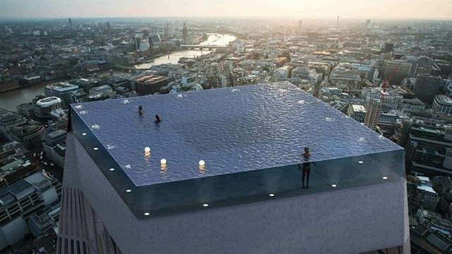 В Лондоне представили проект элитного бассейна на крыше небоскреба, но как до него добраться - непонятно (3 фото + 4 скриншота)