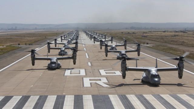 Военные США показали одновременный взлет конвертопланов (6 фото + видео)