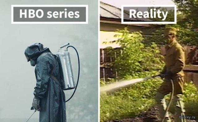 """Реальные фотографии Чернобыльской катастрофы и кадры из сериала """"Чернобыль"""" (20 фото)"""