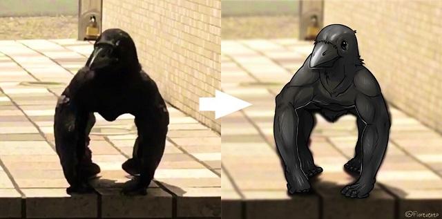 """""""Ворона-горилла"""" - новый странный мем из Японии (8 картинок + видео)"""