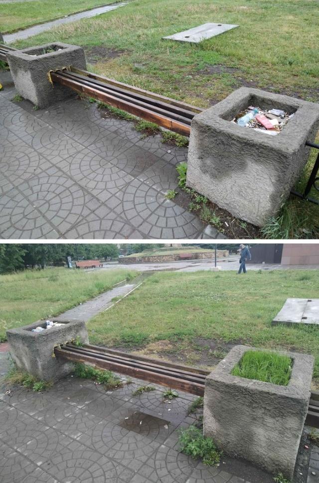 Как побороть мусор на остановке? (7 фото)