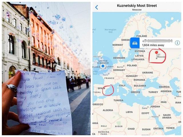 В Испании 4-летняя девочка бросила бутылку с посланием в море, а спустя время она получила ответ из Москвы (2 фото)
