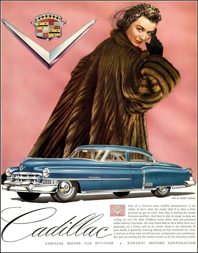 Шикарные женщины на рекламных постерах Cadillac начала 50-х годов (10 фото)
