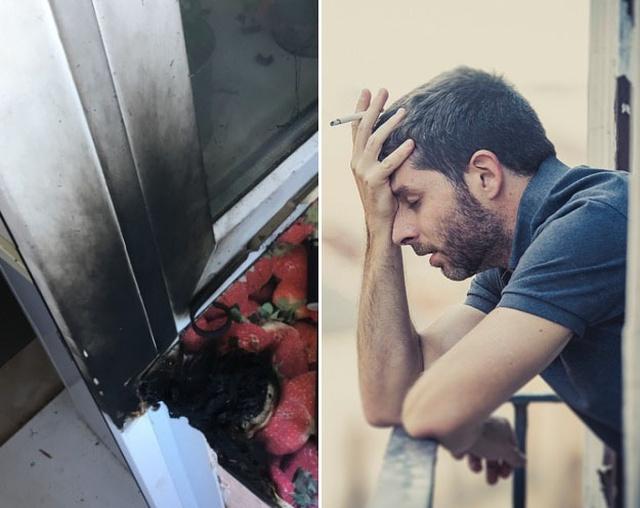 Соседи чуть не сожгли балкон (2 фото)