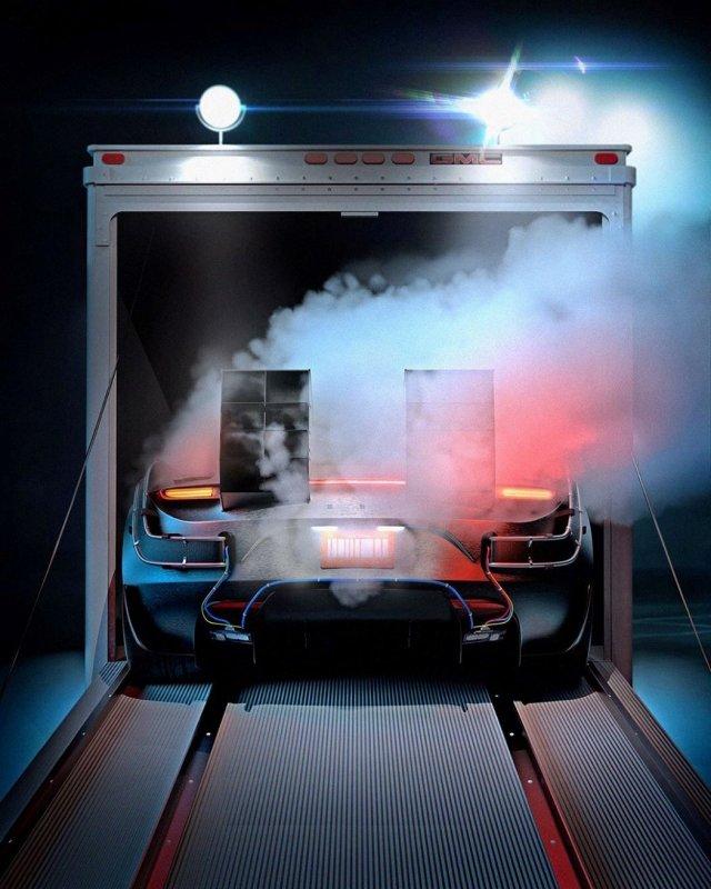"""Tesla Roadster вместо DeLorean из фильма """"Назад в будущее"""" (7 фото)"""
