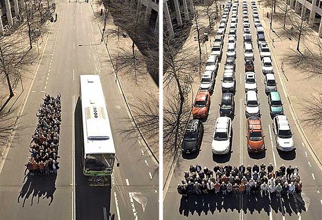 Tek fotoğrafla Toplu Taşımanın Faydası