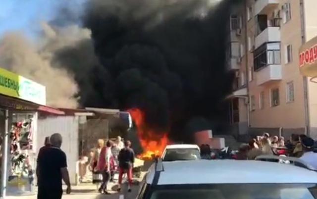 Пожар на центральном рынке в Геленджике