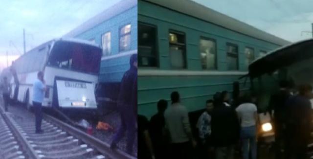 Поезд протаранил автобус в Алматинской области (2 фото + 3 видео)