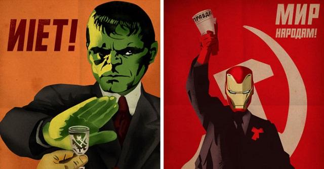 Дизайнер из Македонии объединил советские плакаты и героев комиксов (9 фото)