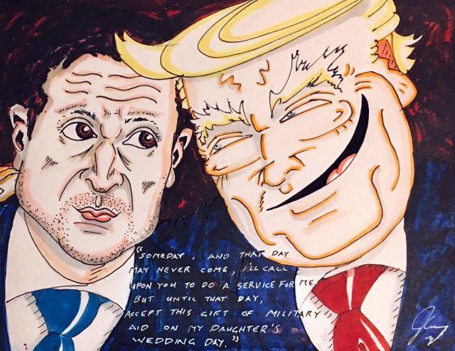 Джим Керри посвятил картину Дональду Трампу и Владимиру Зеленскому