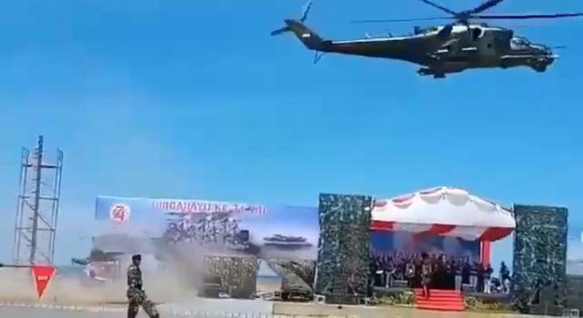 Вертолет Ми-35П испортил парад в Индонезии