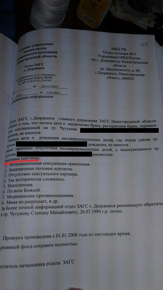 ЗАГС очень смешно отчитался перед полицией, почему у жителя Дзержинска нет детей (3 фото)