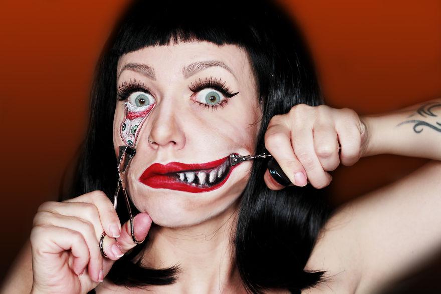 Художница рисует жуткий макияж, который вам точно сегодня приснится (20 фото)
