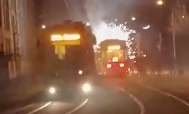 Фаер-шоу от московского трамвая