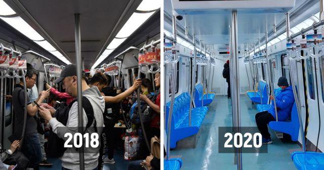 До и после: как из-за коронавируса опустел Китай (14 фото)