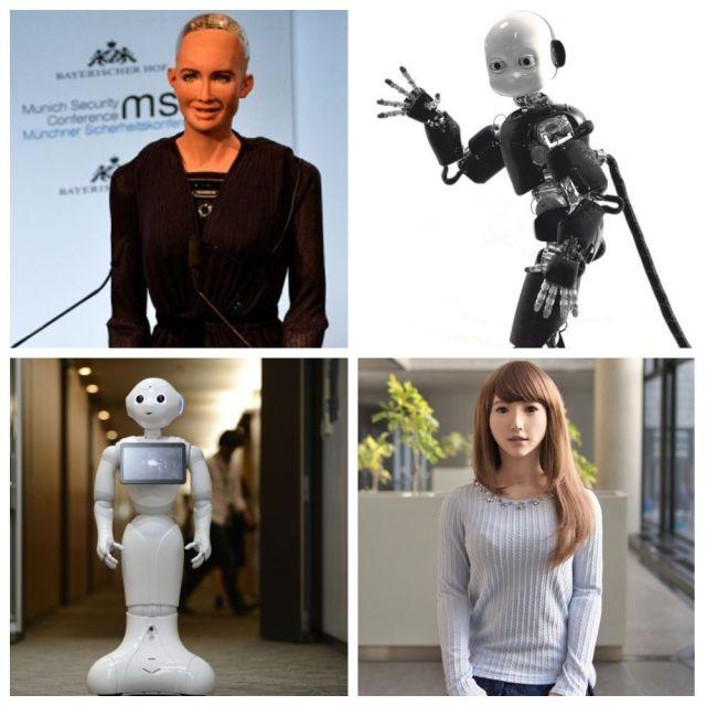 коллаж с человекоподобными роботами