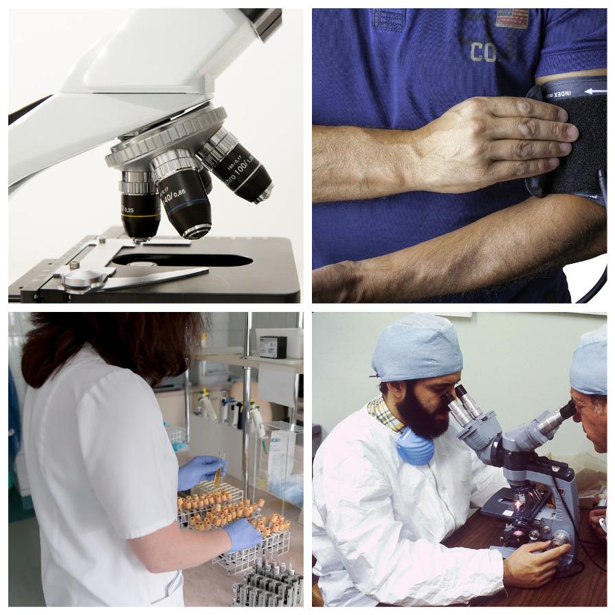 Микроскоп, прибор для давления, врач в лаборатории