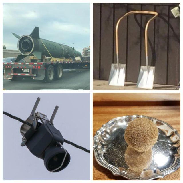 Ракета, лопата, камера и шарик из водорослей